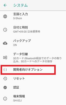システム→開発者向けオプション